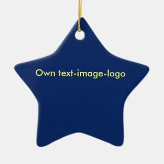 Verzierungs-Stern-uni Blau Keramik Ornament