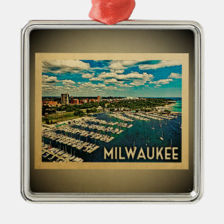 Verzierungs-Vintage Reise Milwaukee Wisconsin Silbernes Ornament