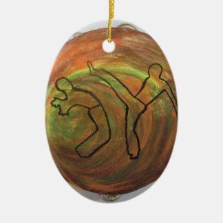 Verzierungstanz-Kampfkunstmusik Ovales Keramik Ornament