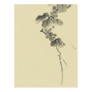 Verzweigen Sie sich mit Blätter u. Beeren, Hokusai Postkarte