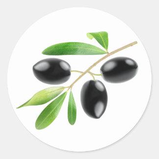Verzweigen Sie sich mit schwarzen Oliven Runder Aufkleber