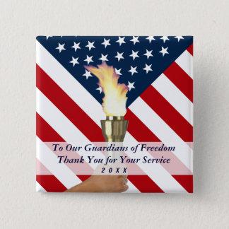 Veteranen-Tag oder Volkstrauertag-Militär dankt Quadratischer Button 5,1 Cm