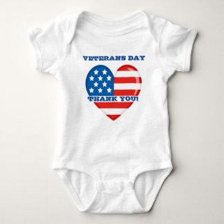 Veteranen-Tagesbaby-Jersey-Bodysuit Baby Strampler