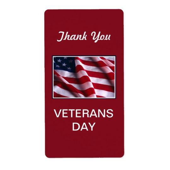 Veteranen-Tagesfeier, Flagge auf Rot Versandetiketten