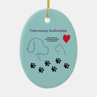 Veterinärtechniker - Tatzen-Drucke auf meinem Keramik Ornament