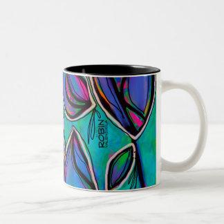 Vibrierende abstrakte BlumenTasse Zweifarbige Tasse