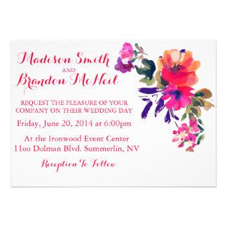 Vibrierende Aquarell-Hochzeits-Einladung