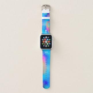 Vibrierende Aquarelle - weißes Kreuz u. Monogramm Apple Watch Armband