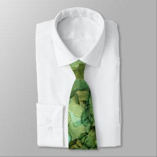Vibrierende Blues-und Grüntöne-abstrakte flüssige Krawatte