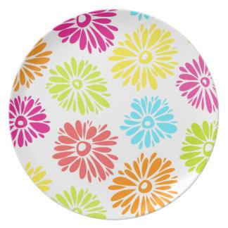 Vibrierende Blumen-Platte Teller