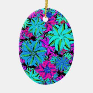 Vibrierende Blumencollage Keramik Ornament