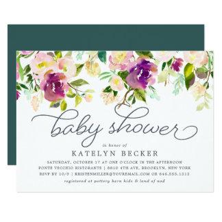 Vibrierende Blüten-Babyparty-Einladung Karte