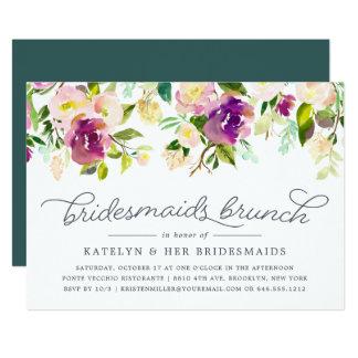 Vibrierende Blüten-Brautjungfern-Brunch-Einladung Karte