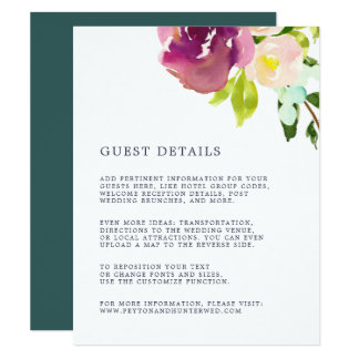 Vibrierende Blüten-Hochzeits-Gast-Einzelkarte Karte