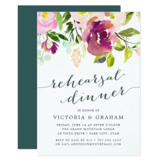 Vibrierende Blüten-Proben-Abendessen-Einladung Karte