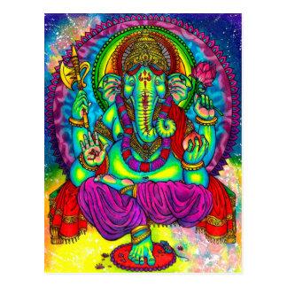 Vibrierende bunte Ganesh Malerei Postkarte