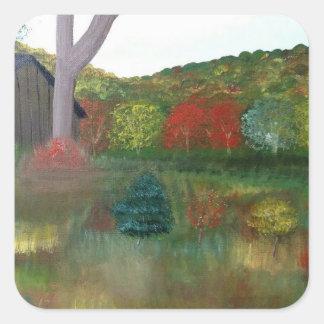 Vibrierende Herbst-Quadrat-Aufkleber Quadratischer Aufkleber