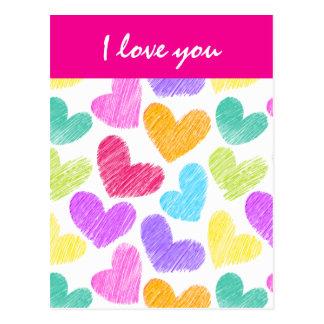Vibrierende Herzen Valentinstag-Postkarte