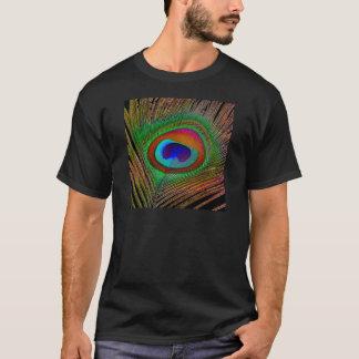 Vibrierende kupferne Pfau-Feder T-Shirt