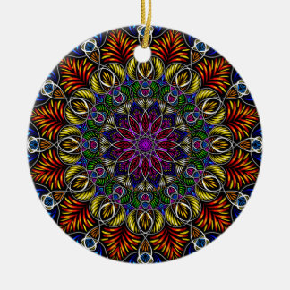 Vibrierende Mandala Weihnachtsverzierung Keramik Ornament