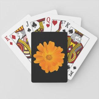 Vibrierende orange Dahlie-Blumen-Spielkarten Spielkarten