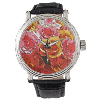 Vibrierende reiche orange und rosa Rosen Armbanduhr