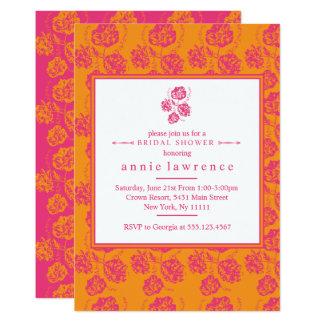 Vibrierende rosa BlumenBrautparty-Einladungen Karte