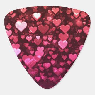 Vibrierende rosa und rote Bokeh Herzen der Liebe Plektrum