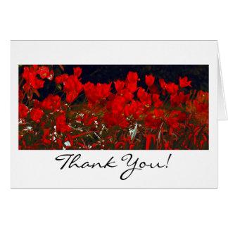 Vibrierende rote Tulpen, danke Gruß-Karte Grußkarte