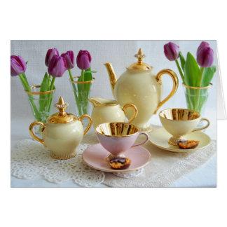 Vibrierende Vintage Tee-/Kaffee-Tulpe-Gruß-Karte Karte