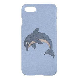 Vibrierender dunkelblauer Delphin-weiße Glitzern iPhone 8/7 Hülle
