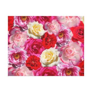 Vibrierender Garten-Rosen-Entwurf Leinwanddruck