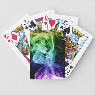 Vibrierender grün-blauer lila abstrakter Rauch Bicycle Spielkarten