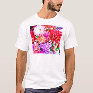 Vibrierender MischBlumen-Blumenstrauß-Hintergrund T-Shirt