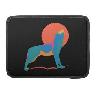 Vibrierender Wolf, der an einem enormen roten Sleeve Für MacBook Pro