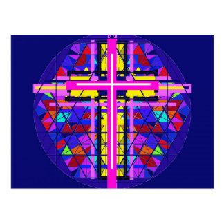 Vibrierendes beflecktes Glas-christliches Kreuz Postkarte