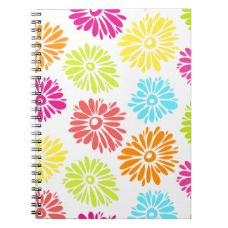 Vibrierendes Blumen-Notizbuch Spiral Notizblock