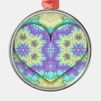 Vibrierendes festliches multi+Farbige Herz-Form Silbernes Ornament