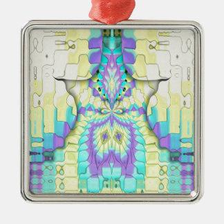 Vibrierendes festliches Neonabstraktes Quadratisches Silberfarbenes Ornament