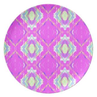 Vibrierendes Girly heißes Neonpastellrosa Melaminteller