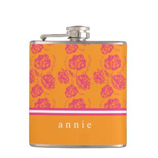 Vibrierendes, modernes rosa u. orange Blumen Flachmann
