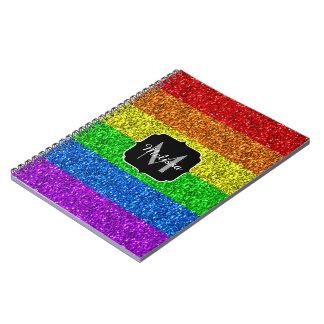 Vibrierendes Monogramm Glitzern LGBT Flagge Spiral Notizblock