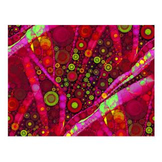 Vibrierendes Pink-konzentrischer Kreis-Mosaik Postkarte