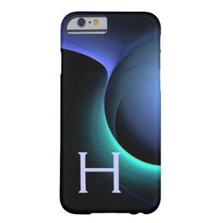 Vibrierendes schwarzes Blau DES EKLIPSE-MONOGRAMMS Barely There iPhone 6 Hülle