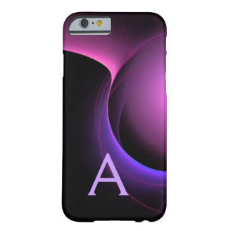Vibrierendes schwarzes Lila DES EKLIPSE-MONOGRAMMS Barely There iPhone 6 Hülle