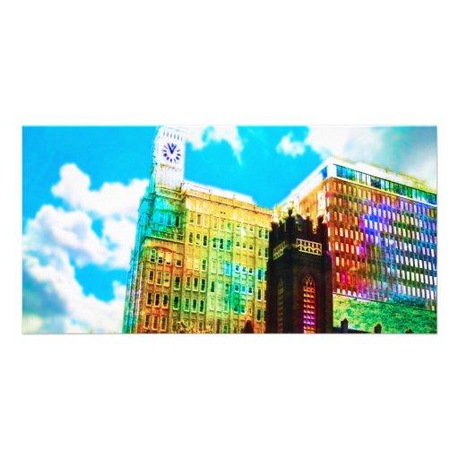 vibrierendes Stadtzentrum Foto Grußkarte