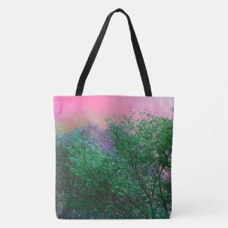 Vibrierendes Surrealismus-Neon färbt Baum-Spitzen Tasche