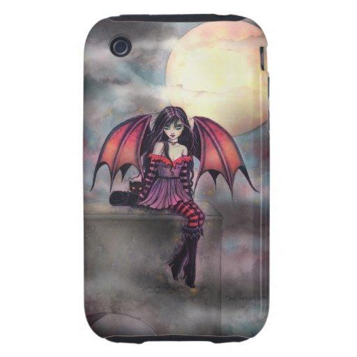 Victoria-Vampirs-Fee mit Katzen-Halloween-Kunst Tough iPhone 3 Etuis