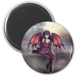 Victoria-Vampirs-Fee mit Katzen-Halloween-Kunst Runder Magnet 5,1 Cm