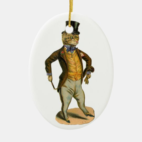 Victorian style cat with top hat ovales keramik ornament